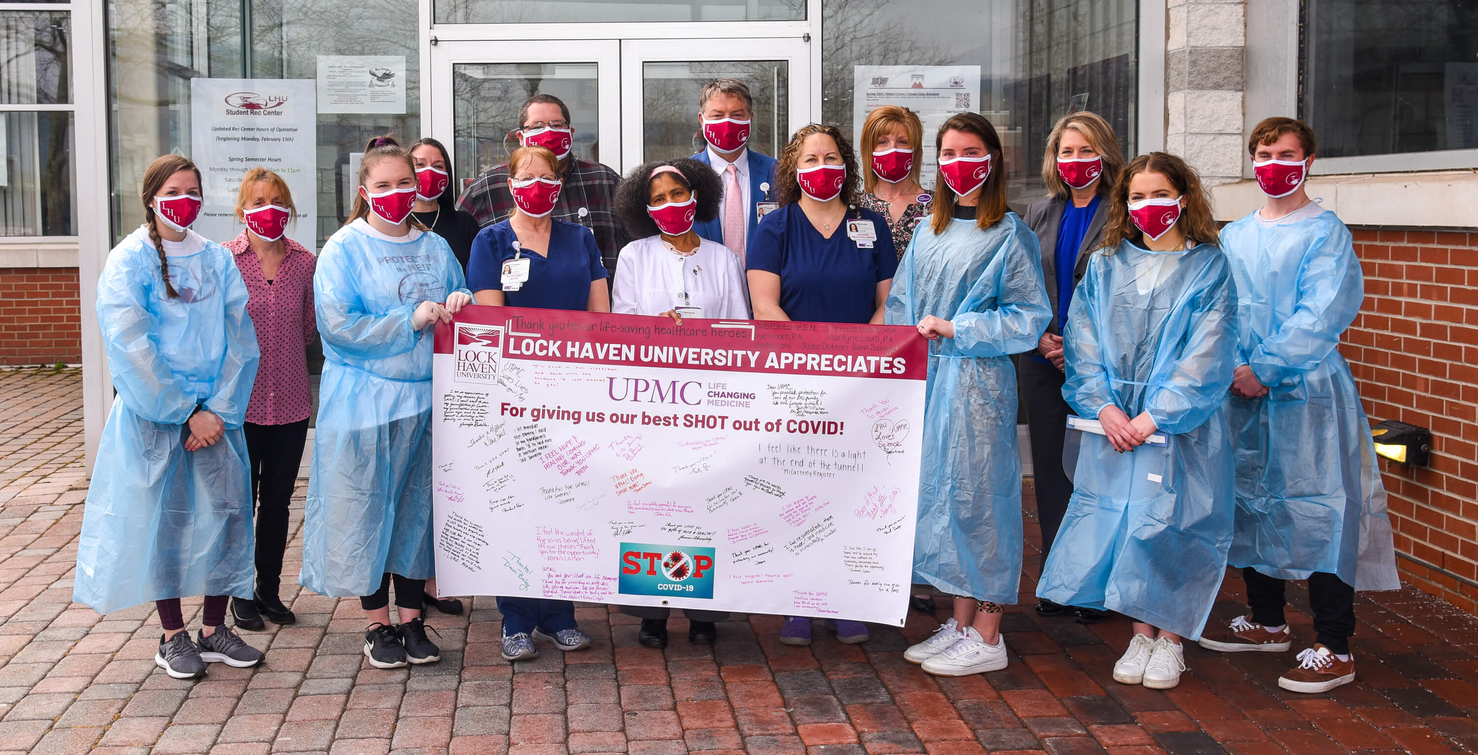 Lock Haven University recently presented a banner to UPMC with signatures and quotes from students, faculty and staff.