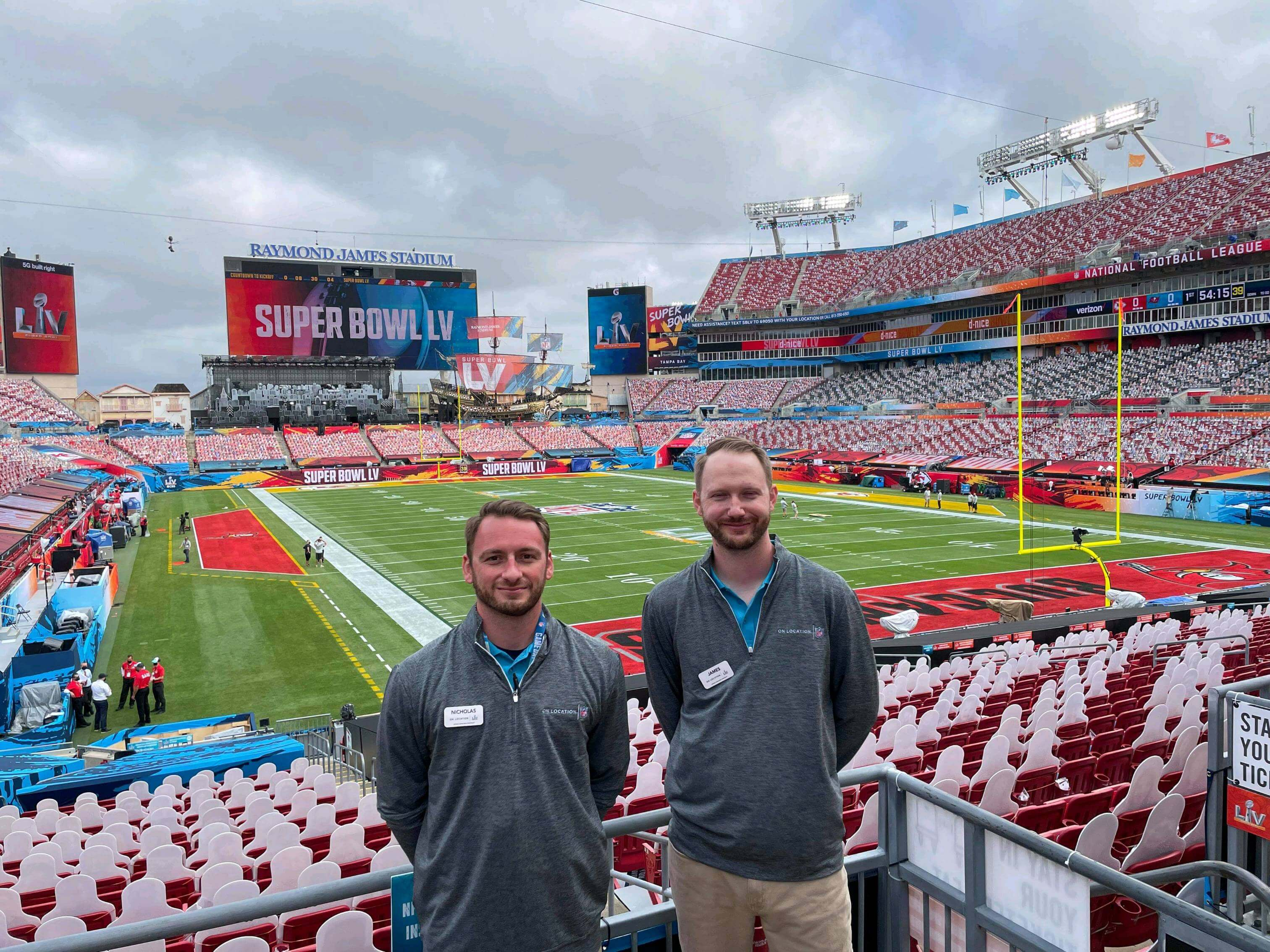 From left, are Nick Long and Dr. James Mattern, LHU sport studies assistant professor, at Super Bowl LV. The two 2014 LHU graduates volunteered at the big game as part of the Tampa Bay Super Bowl LV Host Committee.
