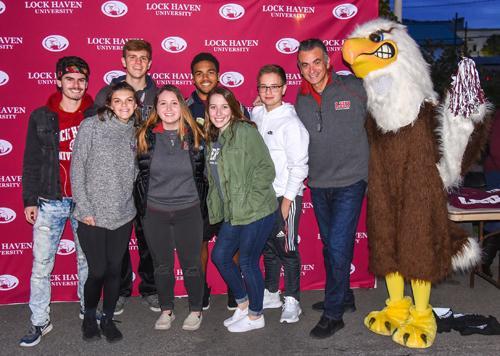 Block Party, students with LHU President, Robert Pignatello, far right, next to Talon, LHU mascot.
