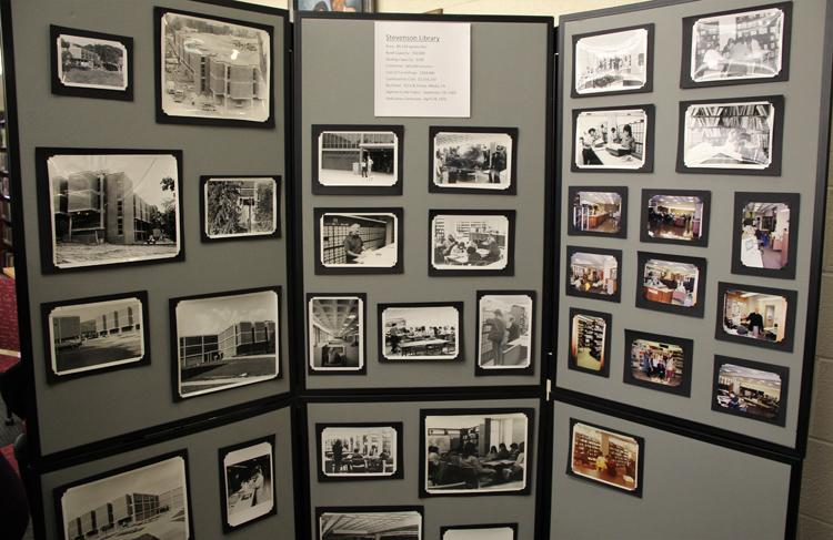 A display of historical photos of Stevenson Library over the years.