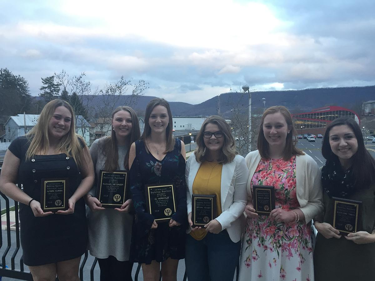 Shown are the LHU students who were presented with awards during the recent Psychology Department awards banquet. From left, are Alyson Harden, Rachael Metzinger, CJ Morinville, Brooke Yeager, Josilyn Martin, and Kaitlynn Timko.