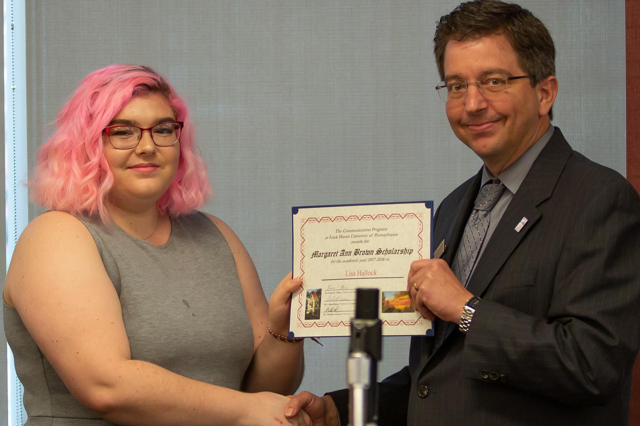 Lisa Hallock – Lisa Hallock, Margaret Ann Brown Scholarship recipient, left, presented by Dr. Matthew Girton, LHU professor.